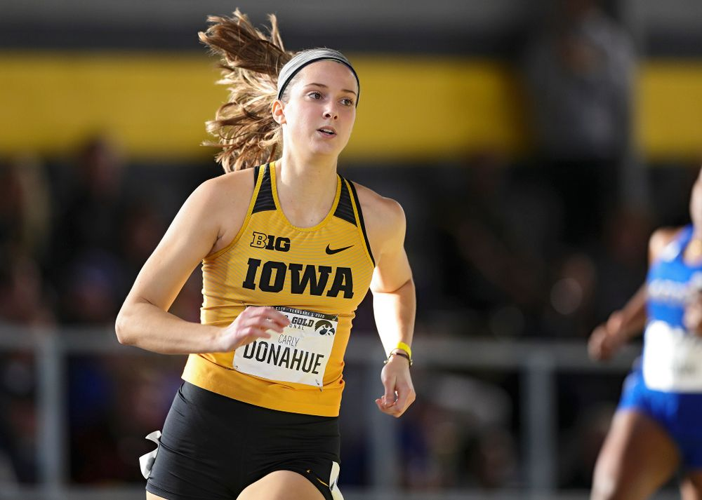 Iowa's Carly Donahue runs the women's 400 meter dash event at the Black and Gold Invite at the Recreation Building in Iowa City on Saturday, February 1, 2020. (Stephen Mally/hawkeyesports.com)