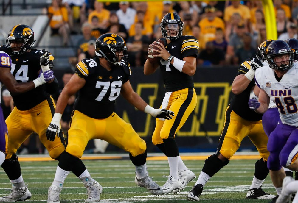 Iowa Hawkeyes quarterback Nate Stanley (4) drops back to pass during a game against Northern Iowa at Kinnick Stadium on September 15, 2018. (Tork Mason/hawkeyesports.com)
