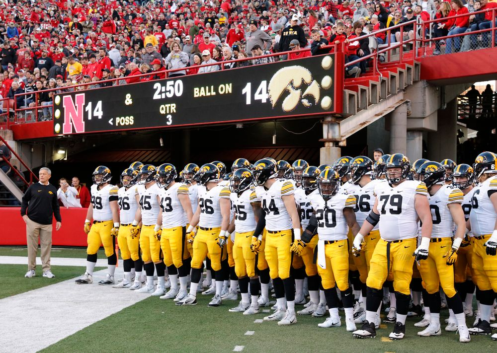The Iowa Hawkeyes come out for the second half