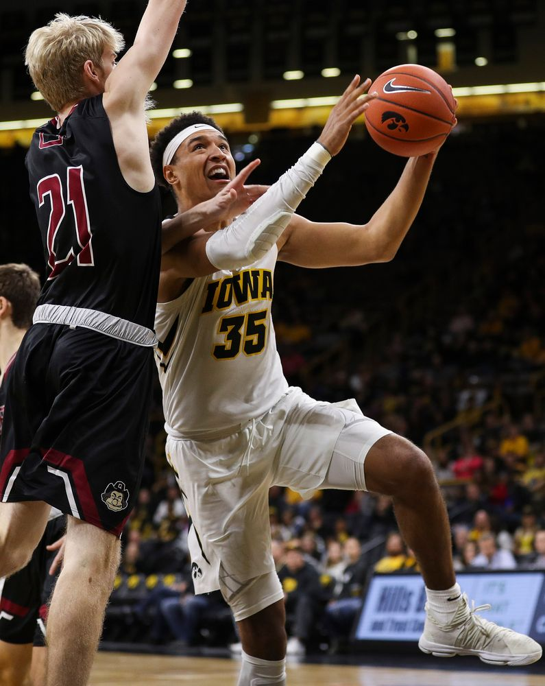 Iowa Hawkeyes forward Cordell Pemsl (35) goes up for a shot during a game against Guilford College at Carver-Hawkeye Arena on November 4, 2018. (Tork Mason/hawkeyesports.com)