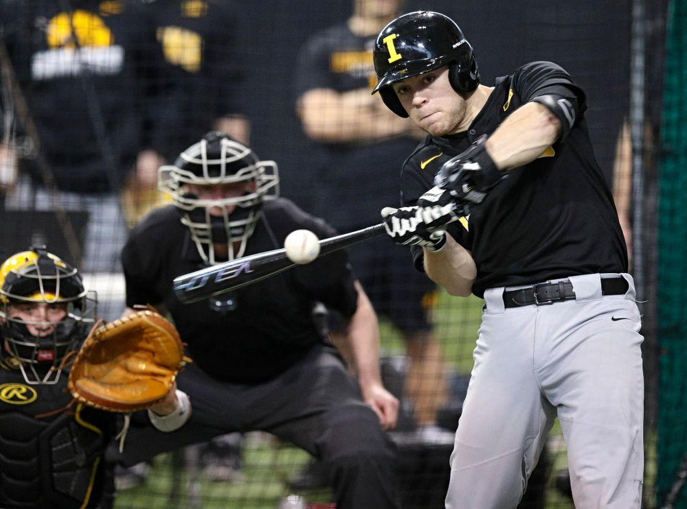 Iowa Hawkeyes outfielder Andrew Nord (10) bats during practice at the Hansen Football Performance Center in Iowa City on Friday, January 24, 2020. (Stephen Mally/hawkeyesports.com)
