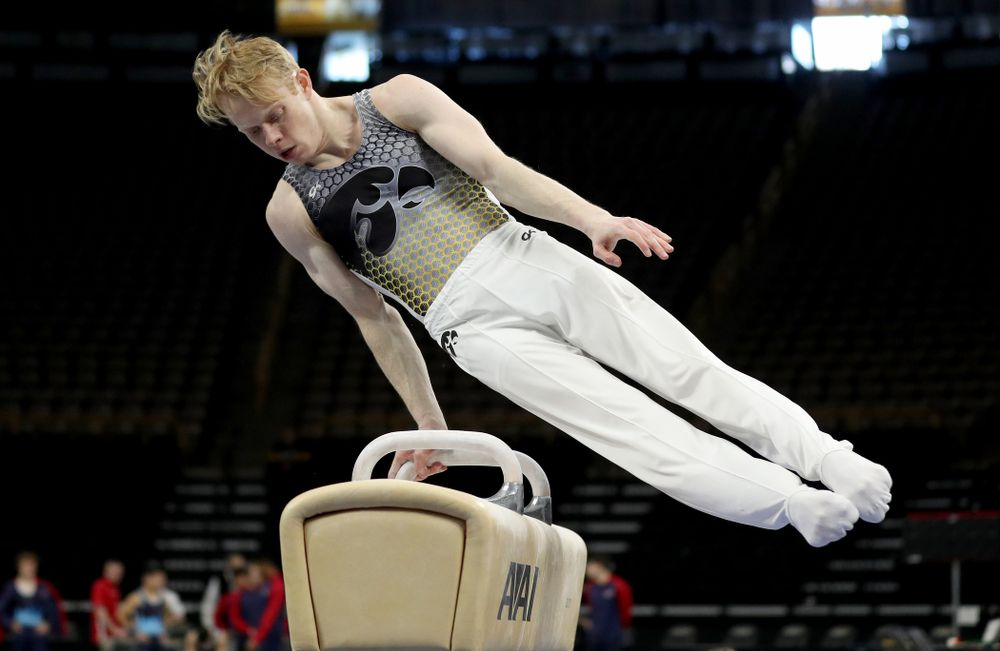 Iowa's Nick Merryman competes on the Pommel Horse against UIC and Minnesota Saturday, February 1, 2020 at Carver-Hawkeye Arena. (Brian Ray/hawkeyesports.com)