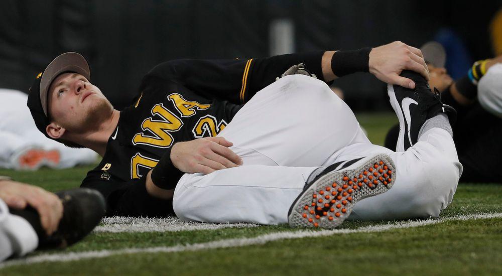 Brendan Sher at first baseball practice on Jan. 25, 2019. (Darren Miller/hawkeyesports.com)
