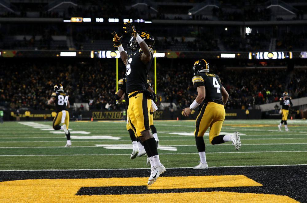Iowa Hawkeyes wide receiver Ihmir Smith-Marsette (6) celebrates a touchdown against the Northwestern Wildcats Saturday, November 10, 2018 at Kinnick Stadium. (Brian Ray/hawkeyesports.com)