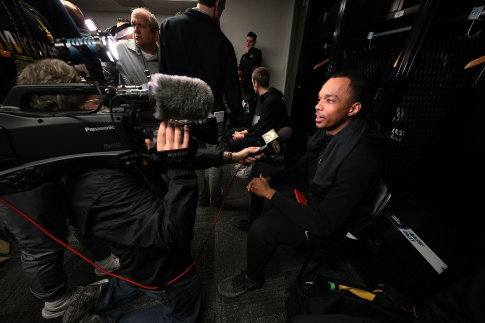 Iowa Hawkeyes guard Maishe Dailey (1) during press availability and practice before the first round of the 2019 NCAA Men's Basketball Tournament Thursday, March 21, 2019 at Nationwide Arena in Columbus, Ohio. (Brian Ray/hawkeyesports.com)