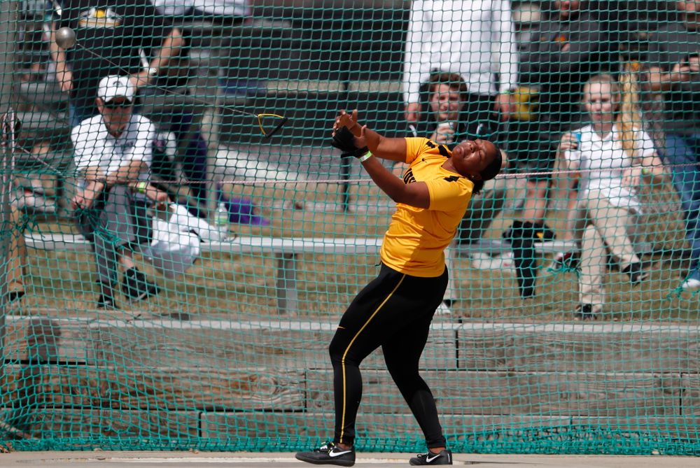 Iowa's Nia Britt competes in the hammer throw during the 2018 MUSCO Twilight Invitational  Thursday, April 12, 2018 at the Cretzmeyer Track. (Brian Ray/hawkeyesports.com)