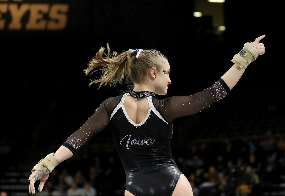 Iowa's Lauren Guerin competes on the floor against Michigan State Saturday, February 1, 2020 at Carver-Hawkeye Arena. (Brian Ray/hawkeyesports.com)