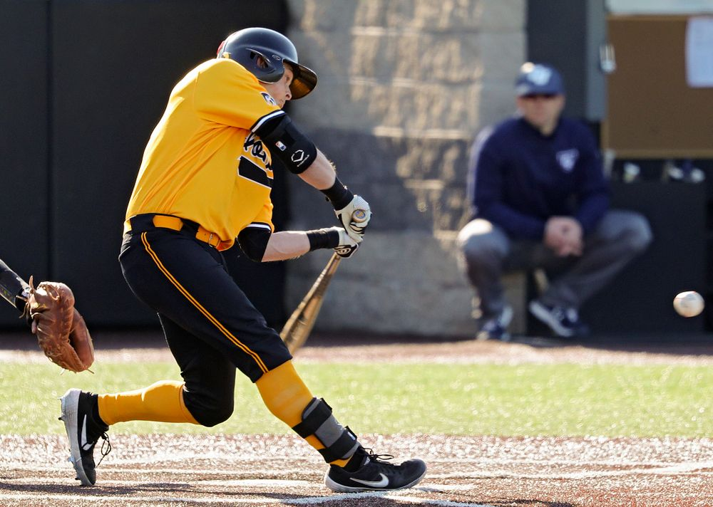 Iowa Hawkeyes second baseman Mitchell Boe (4) drives a pitch for a hit during the second inning of their game at Duane Banks Field in Iowa City on Tuesday, Apr. 2, 2019. (Stephen Mally/hawkeyesports.com)