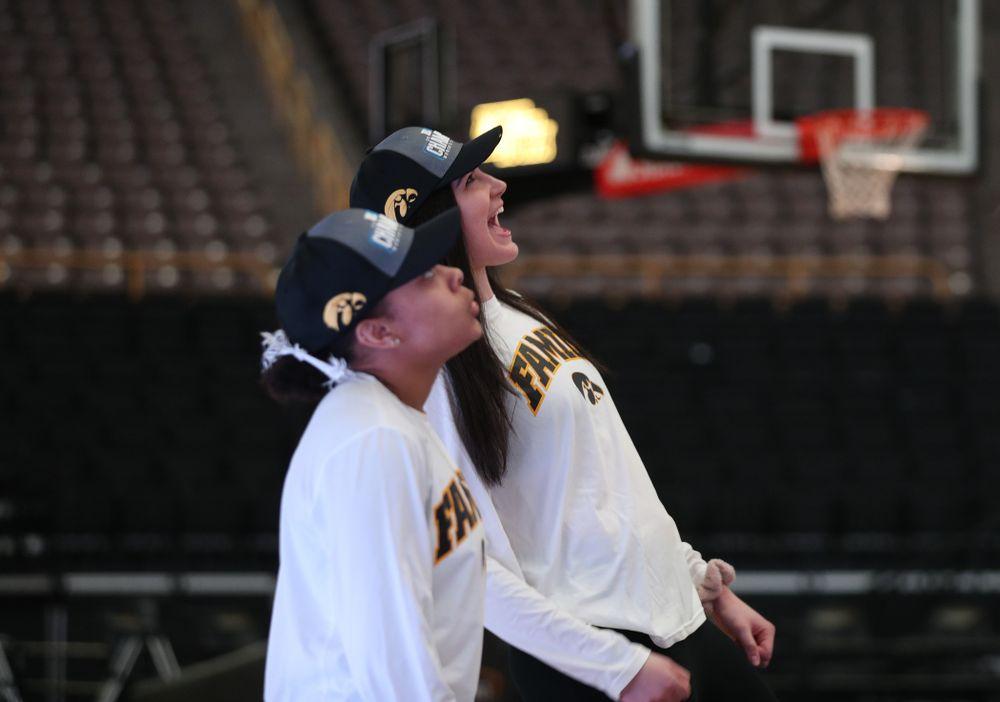 Iowa Hawkeyes forward Megan Gustafson (10) during a celebration of their Big Ten Women's Basketball Tournament championship Monday, March 18, 2019 at Carver-Hawkeye Arena. (Brian Ray/hawkeyesports.com)