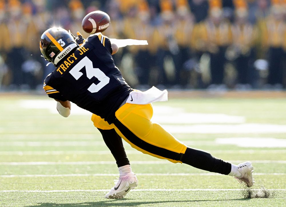 Iowa Hawkeyes wide receiver Tyrone Tracy Jr. (3) pulls in a pass during the second quarter of their game at Kinnick Stadium in Iowa City on Saturday, Nov 23, 2019. (Stephen Mally/hawkeyesports.com)