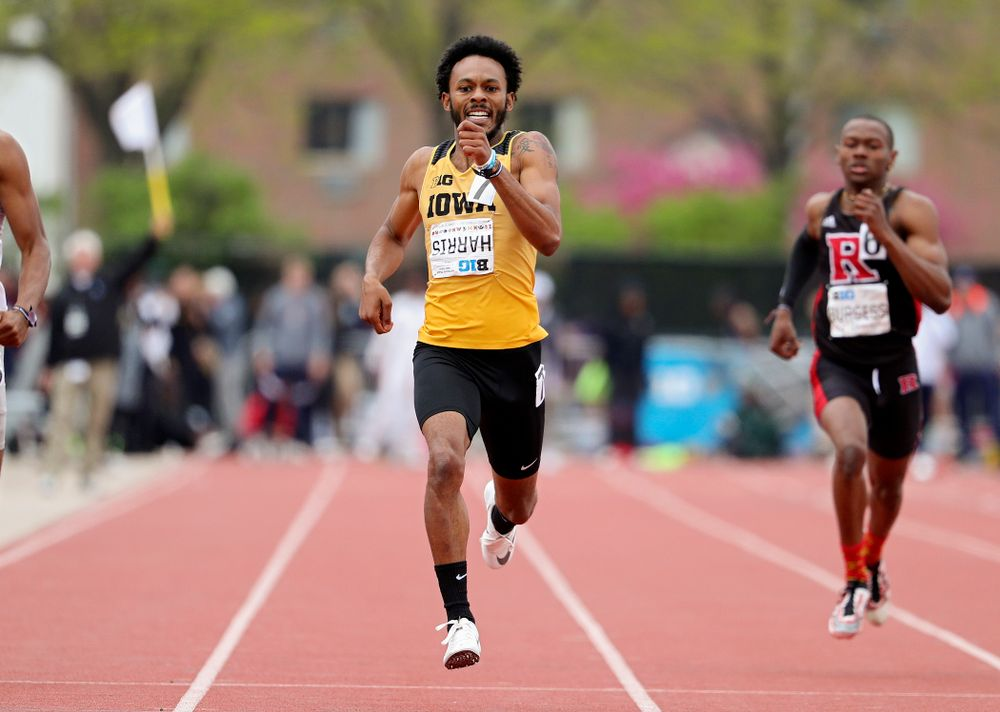 Iowa's Mar'yea Harris runs the men's 400 meter event on the third day of the Big Ten Outdoor Track and Field Championships at Francis X. Cretzmeyer Track in Iowa City on Sunday, May. 12, 2019. (Stephen Mally/hawkeyesports.com)