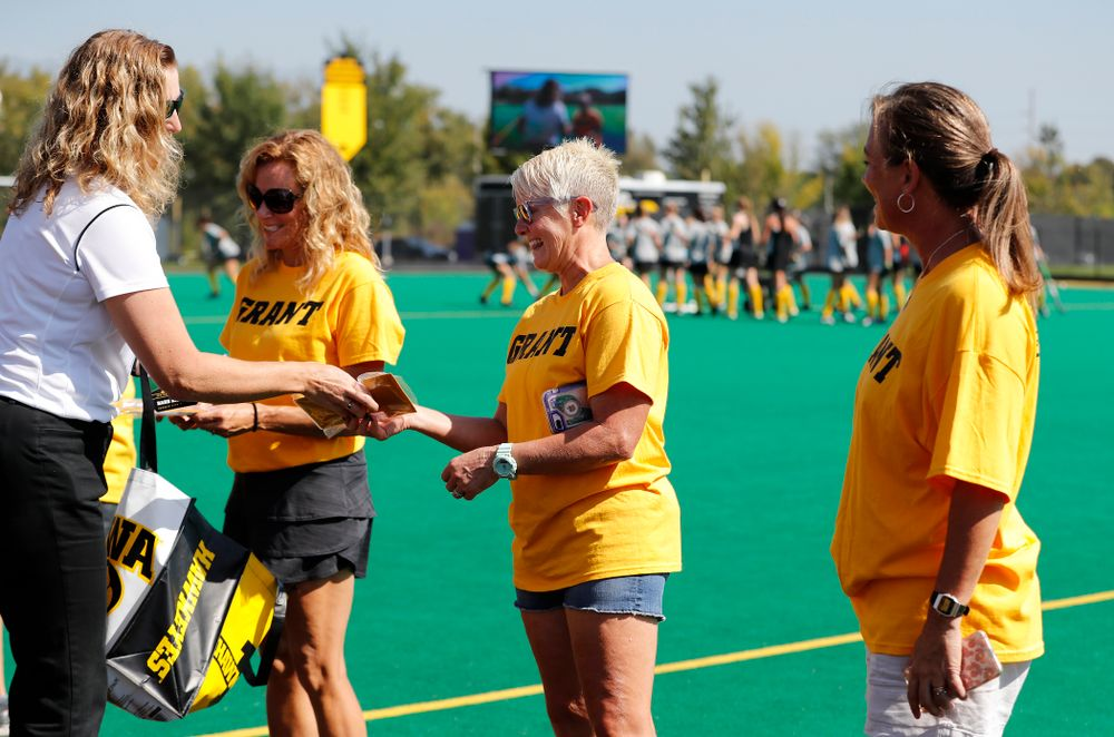 Former field hockey players receive their varsity letters before the Iowa Hawkeyes game against Indiana Sunday, September 16, 2018 at Grant Field. (Brian Ray/hawkeyesports.com)