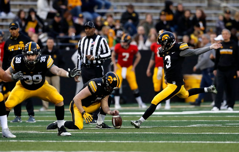 Iowa Hawkeyes place kicker Keith Duncan (3) and punter Colten Rastetter (7) during the final spring practice Friday, April 20, 2018 at Kinnick Stadium. (Brian Ray/hawkeyesports.com)