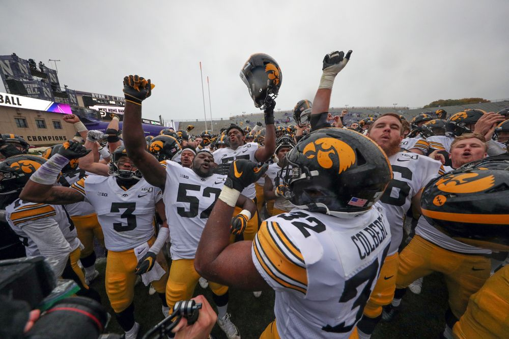 The Iowa Hawkeyes sing the ÒFight SongÓ following their game against the Northwestern Wildcats Saturday, October 26, 2019 at Ryan Field in Evanston, Ill. (Brian Ray/hawkeyesports.com)