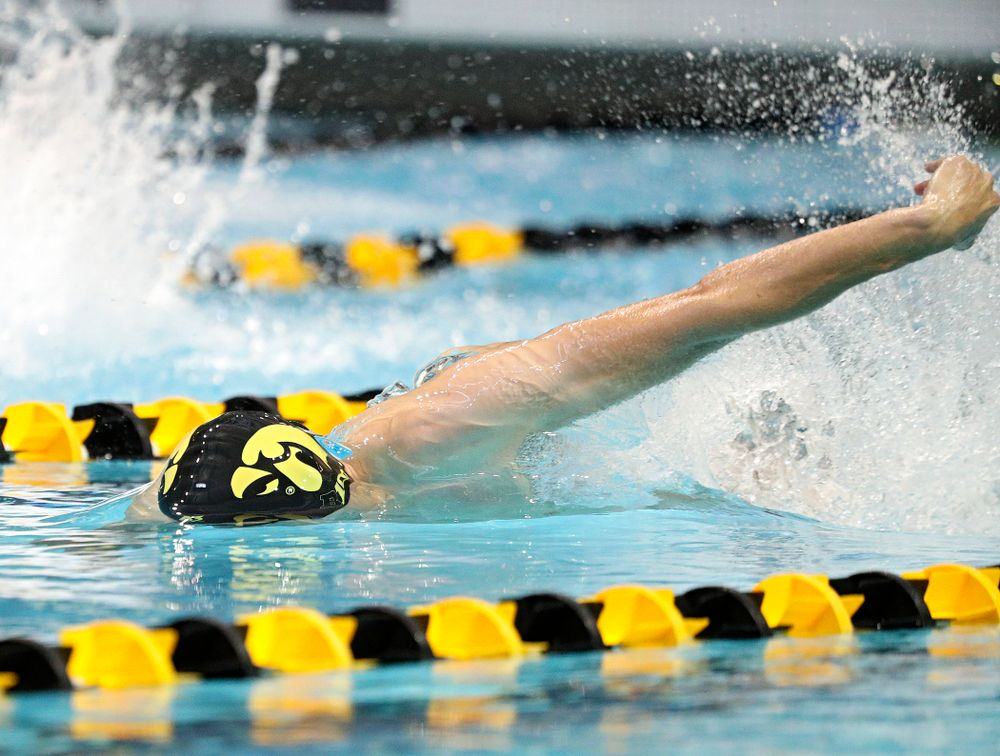Iowa's Will Scott swims the men's 50-yard freestyle event during their meet against Michigan State and Northern Iowa at the Campus Recreation and Wellness Center in Iowa City on Friday, Oct 4, 2019. (Stephen Mally/hawkeyesports.com)