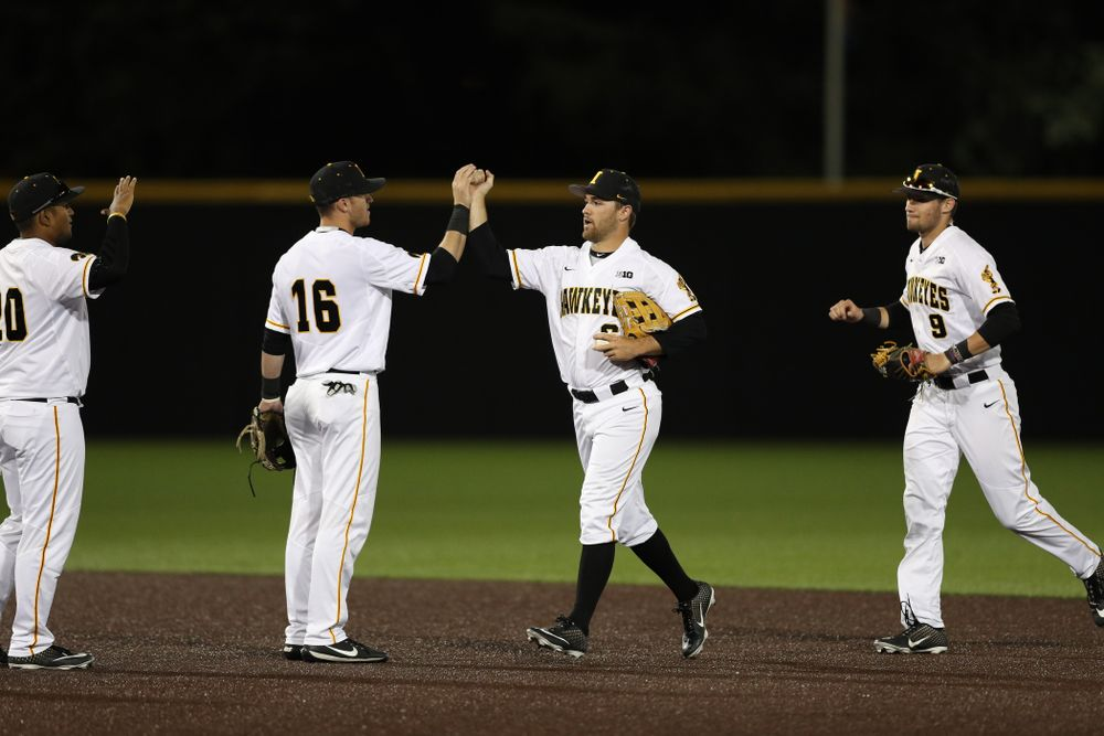 Iowa Hawkeyes outfielder Justin Jenkins (6) and Tanner Wetrich (16) against the Michigan State Spartans Friday, May 10, 2019 at Duane Banks Field. (Brian Ray/hawkeyesports.com)