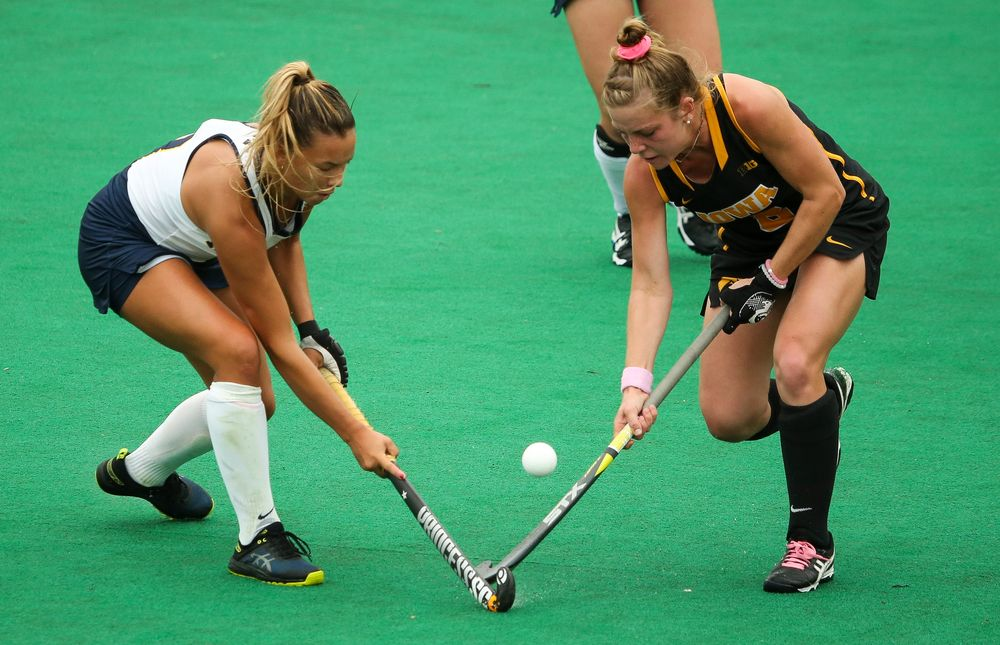 Iowa Hawkeyes midfielder Nikki Freeman (8) fights for possession during a game against Michigan at Grant Field on October 5, 2018. (Tork Mason/hawkeyesports.com)