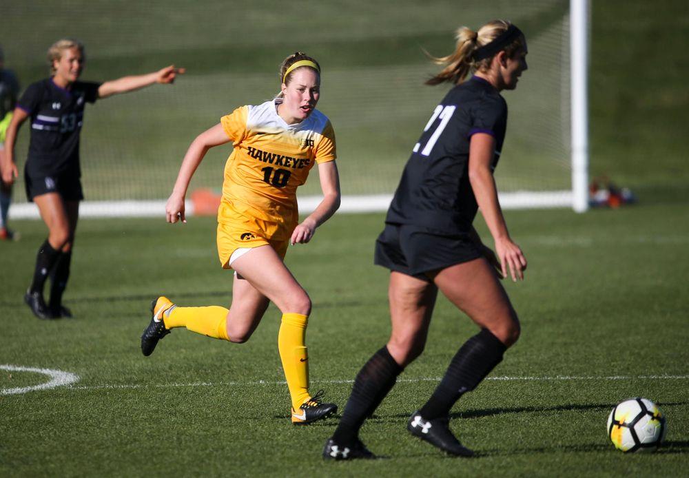 Iowa Hawkeyes midfielder Natalie Winters (10) defends during a game against Northwestern at the Iowa Soccer Complex on October 21, 2018. (Tork Mason/hawkeyesports.com)