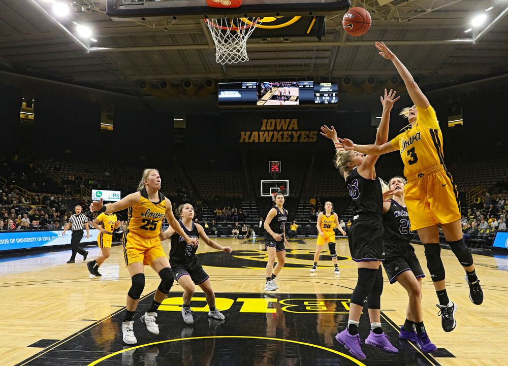 Iowa guard Makenzie Meyer (3) makes a basket during the first quarter of their game against Winona State at Carver-Hawkeye Arena in Iowa City on Sunday, Nov 3, 2019. (Stephen Mally/hawkeyesports.com)