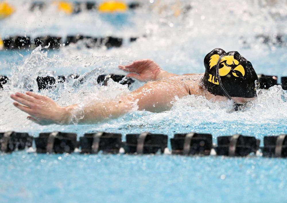Iowa's Kelsey Drake swims the women's 50-yard butterfly event during their meet against Michigan State at the Campus Recreation and Wellness Center in Iowa City on Thursday, Oct 3, 2019. (Stephen Mally/hawkeyesports.com)