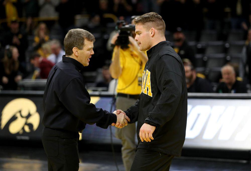 Iowa's Sam Cook during senior day activities Sunday, February 23, 2020 at Carver-Hawkeye Arena. (Brian Ray/hawkeyesports.com)