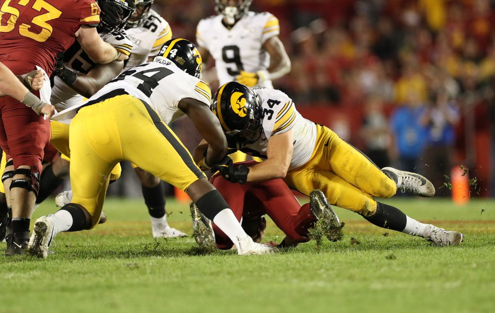 Iowa Hawkeyes linebacker Kristian Welch (34) makes a tackle against the Iowa State Cyclones Saturday, September 14, 2019 in Ames, Iowa. (Brian Ray/hawkeyesports.com)
