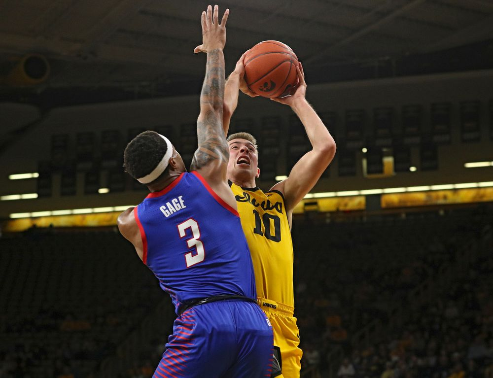 Iowa Hawkeyes guard Joe Wieskamp (10) puts up a shot during the first half of their game at Carver-Hawkeye Arena in Iowa City on Monday, Nov 11, 2019. (Stephen Mally/hawkeyesports.com)