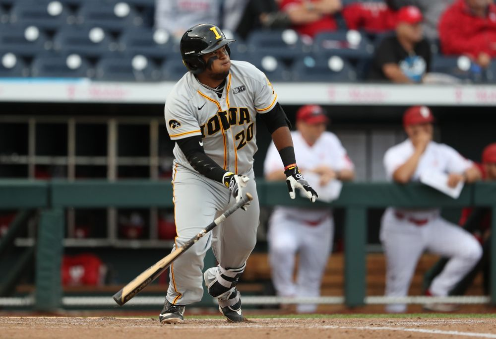 Iowa Hawkeyes Izaya Fullard (20) drives in a run against the Indiana Hoosiers in the first round of the Big Ten Baseball Tournament Wednesday, May 22, 2019 at TD Ameritrade Park in Omaha, Neb. (Brian Ray/hawkeyesports.com)