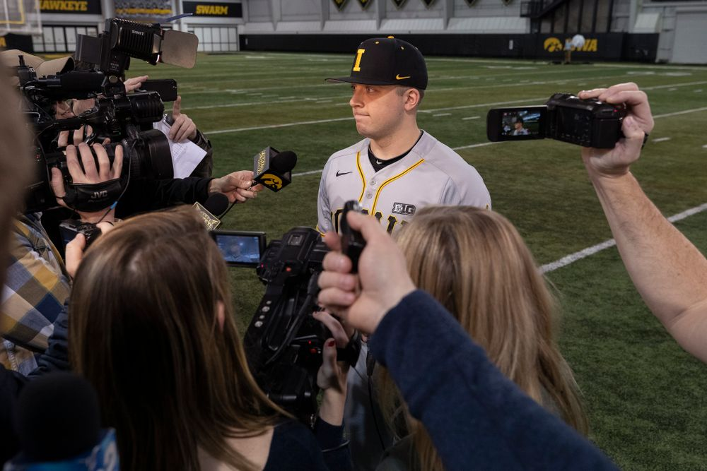Iowa Hawkeyes Cole McDonald (11) answers questions from reporters during the team's annual media day Tuesday, February 5, 2019 in the Indoor Practice Facility. (Brian Ray/hawkeyesports.com)