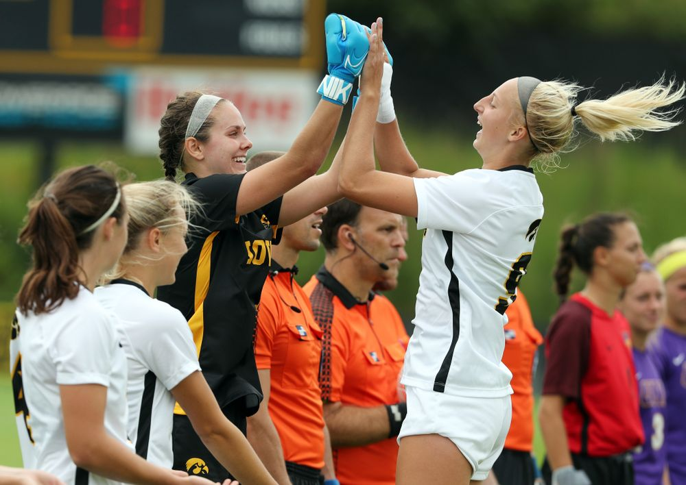 Iowa Hawkeyes goalkeeper Claire Graves (1) and forward Jenny Cape (19) during a 6-1 win over Northern Iowa Sunday, August 25, 2019 at the Iowa Soccer Complex. (Brian Ray/hawkeyesports.com)