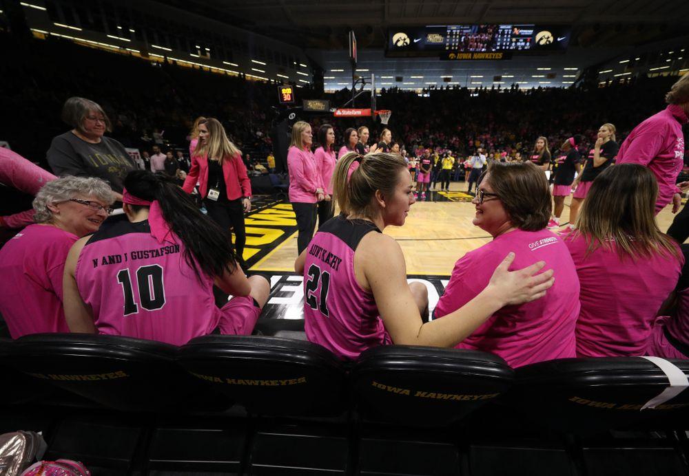 Iowa Hawkeyes forward Hannah Stewart (21) against the seventh ranked Maryland Terrapins Sunday, February 17, 2019 at Carver-Hawkeye Arena. (Brian Ray/hawkeyesports.com)