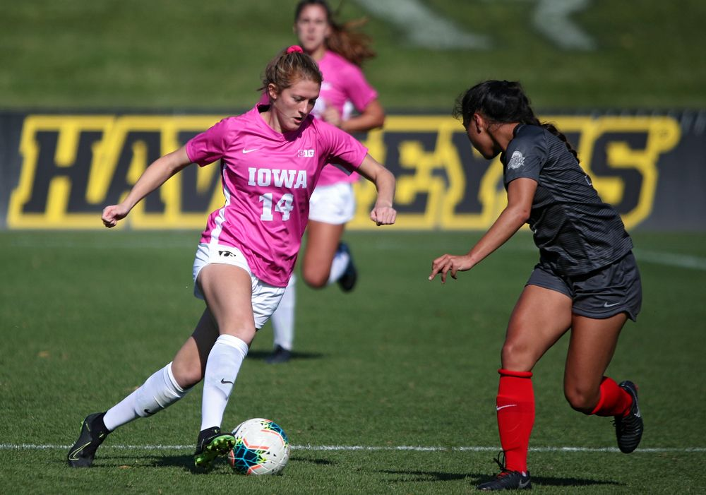 Iowa defender Leah Moss (14) moves with the ball during the first half of their match at the Iowa Soccer Complex in Iowa City on Sunday, Oct 27, 2019. (Stephen Mally/hawkeyesports.com)