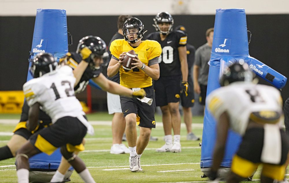 Iowa Hawkeyes quarterback Nate Stanley (4) looks to throw during Fall Camp Practice No. 9 at the Hansen Football Performance Center in Iowa City on Monday, Aug 12, 2019. (Stephen Mally/hawkeyesports.com)