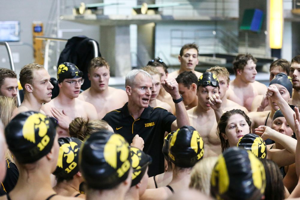 Iowa Hawkeyes head coach Marc Long during Iowa swim and dive vs Minnesota on Saturday, October 26, 2019 at the Campus Wellness and Recreation Center. (Lily Smith/hawkeyesports.com)