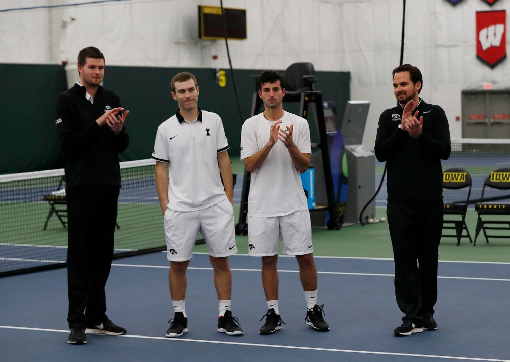 Jake Jacoby and Josh Silverstein during senior day activities following their match against Purdue Sunday, April 15, 2018 at the Hawkeye Ten