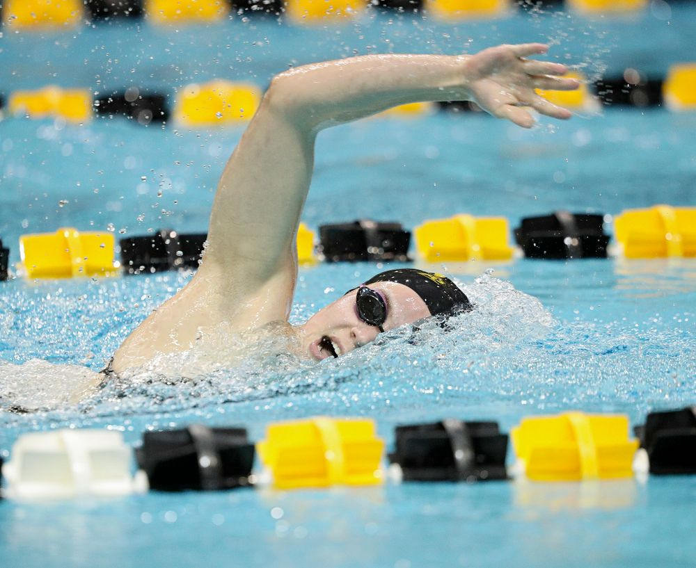 Iowa's Alleyna Thomas swims the freestyle section of the 100-yard individual medley event during their meet against Michigan State at the Campus Recreation and Wellness Center in Iowa City on Thursday, Oct 3, 2019. (Stephen Mally/hawkeyesports.com)