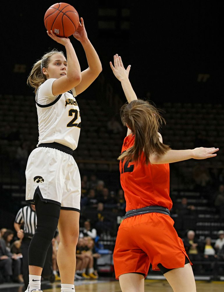 Iowa guard Kathleen Doyle (22) shoots during the second quarter of their overtime win against Princeton at Carver-Hawkeye Arena in Iowa City on Wednesday, Nov 20, 2019. (Stephen Mally/hawkeyesports.com)