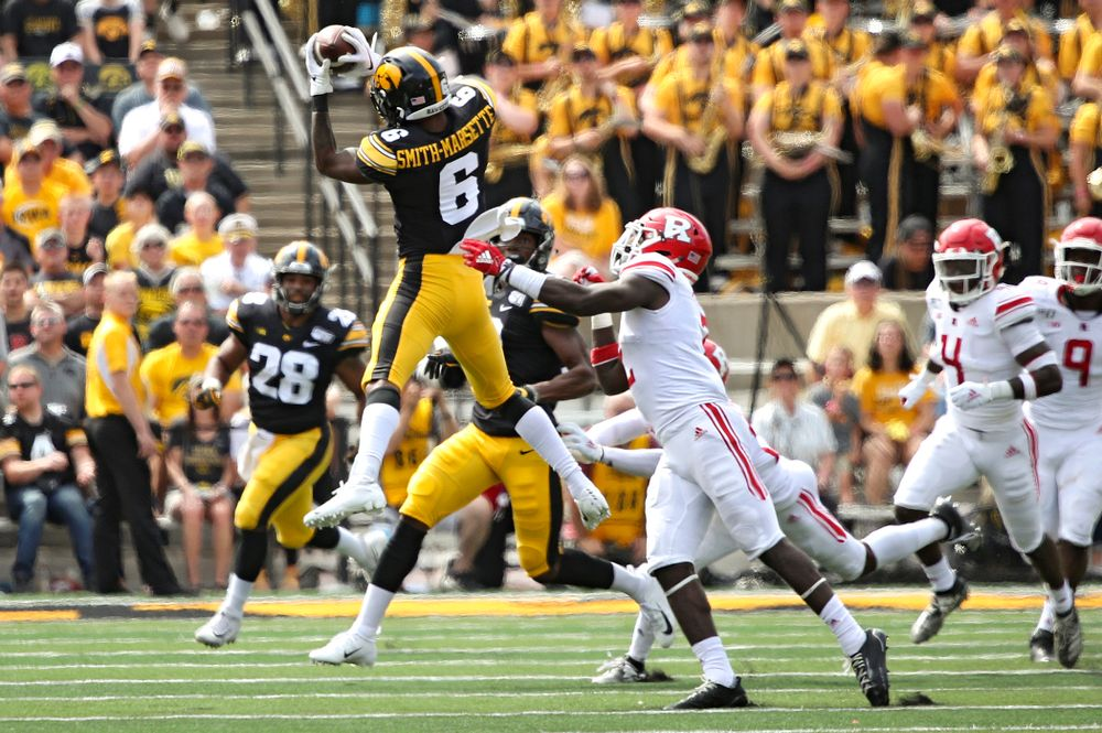 Iowa Hawkeyes wide receiver Ihmir Smith-Marsette (6) pulls in a pass during the second quarter of their Big Ten Conference football game at Kinnick Stadium in Iowa City on Saturday, Sep 7, 2019. (Stephen Mally/hawkeyesports.com)