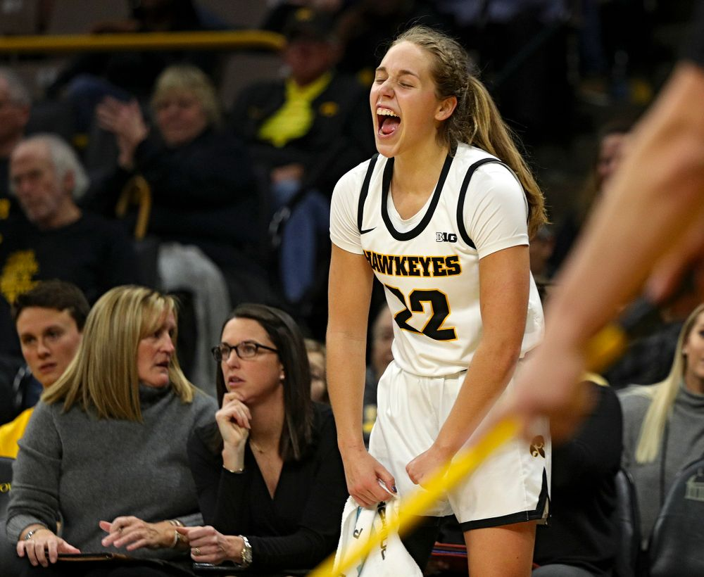 Iowa Hawkeyes guard Kathleen Doyle (22) is pumped up during the fourth quarter of their game at Carver-Hawkeye Arena in Iowa City on Tuesday, December 31, 2019. (Stephen Mally/hawkeyesports.com)
