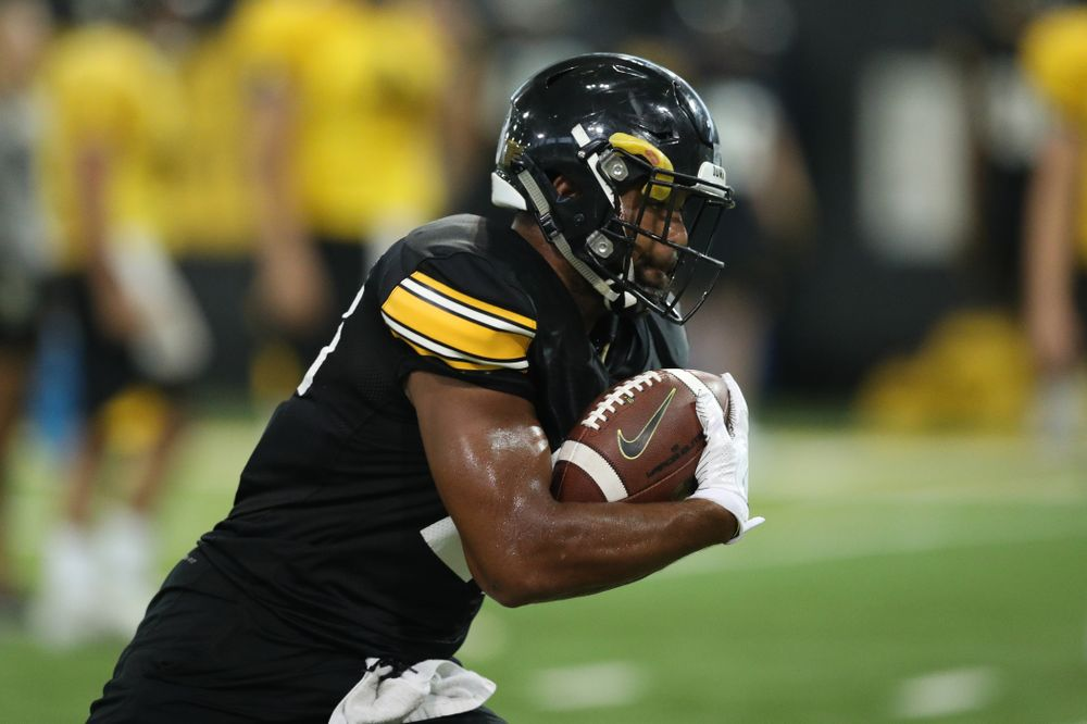 Iowa Hawkeyes running back Toren Young (28) during Fall Camp Practice No. 16 Tuesday, August 20, 2019 at the Ronald D. and Margaret L. Kenyon Football Practice Facility. (Brian Ray/hawkeyesports.com)