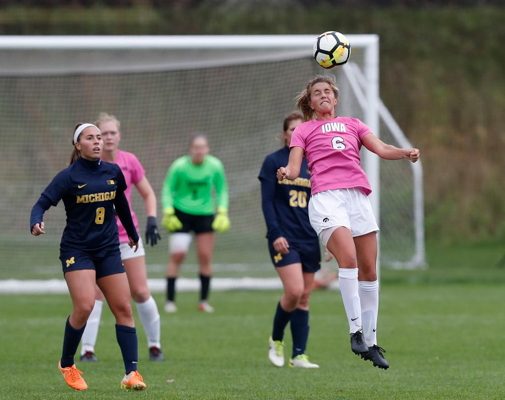 Iowa Hawkeyes Isabella Blackman (6) against Michigan Sunday, October 14, 2018 at the Iowa Soccer Complex. (Brian Ray/hawkeyesports.com)