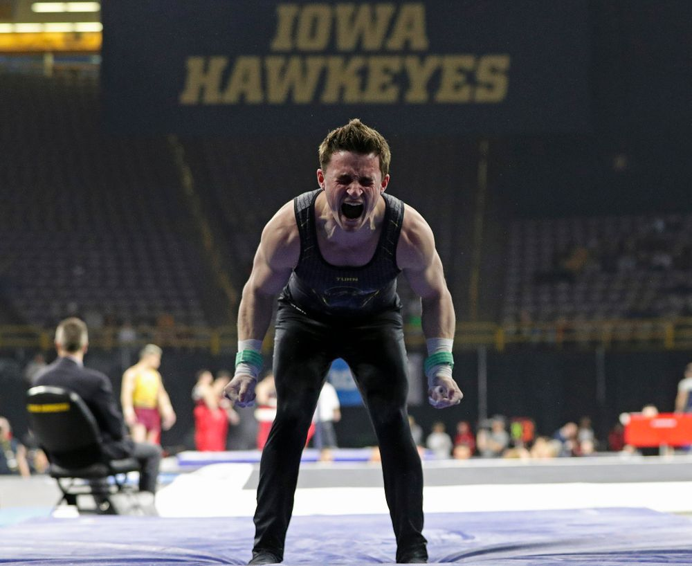 Iowa's Jake Brodarzon is pumped up after competing in the rings during the first day of the Big Ten Men's Gymnastics Championships at Carver-Hawkeye Arena in Iowa City on Friday, Apr. 5, 2019. (Stephen Mally/hawkeyesports.com)