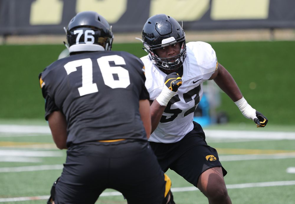 Iowa Hawkeyes defensive end Chauncey Golston (57) during the third practice of fall camp Sunday, August 5, 2018 at the Kenyon Football Practice Facility. (Brian Ray/hawkeyesports.com)
