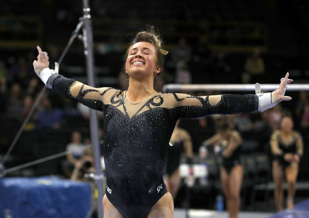 Iowa's Maddie Kampschroeder competes on the bars during their meet against Southeast Missouri State Friday, January 11, 2019 at Carver-Hawkeye Arena. (Brian Ray/hawkeyesports.com)