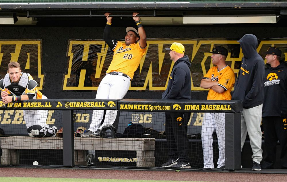 Iowa infielder Izaya Fullard (20) on the bench during the fifth inning of the first game of the Black and Gold Fall World Series at Duane Banks Field in Iowa City on Tuesday, Oct 15, 2019. (Stephen Mally/hawkeyesports.com)
