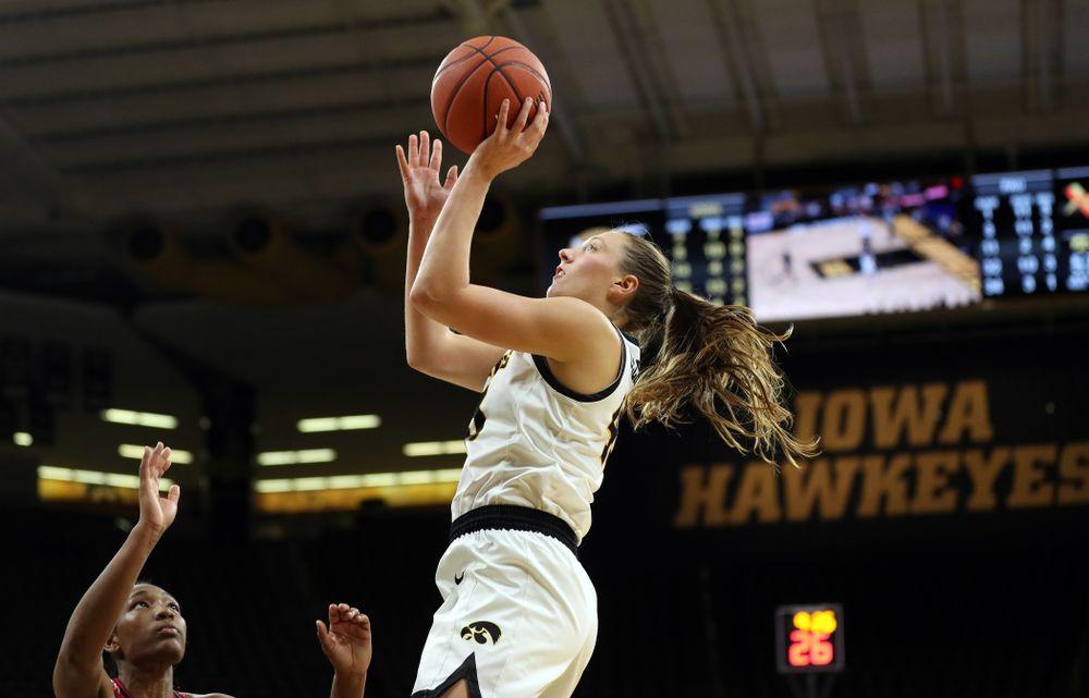 Iowa Hawkeyes forward Amanda Ollinger (43) against Florida Atlantic University Thursday, November 7, 2019 at Carver-Hawkeye Arena. (Brian Ray/hawkeyesports.com)