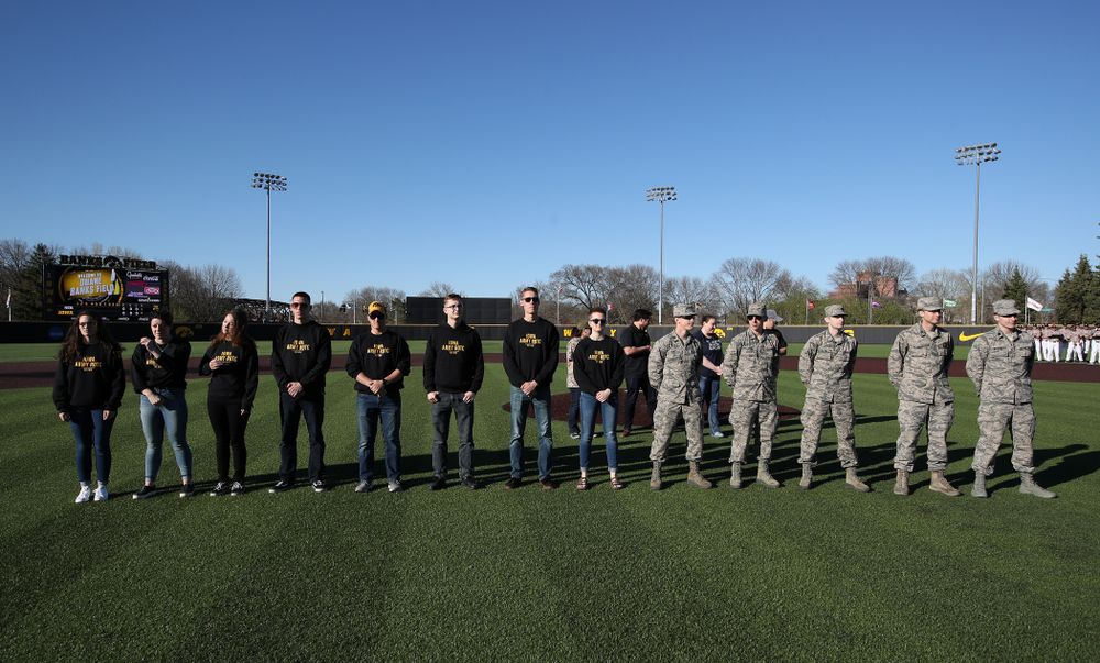 Members of the University of Iowa ROTC are honored before the Iowa Hawkeyes game against the Nebraska Cornhuskers on Military Appreciation Night Friday, April 19, 2019 at Duane Banks Field. (Brian Ray/hawkeyesports.com)