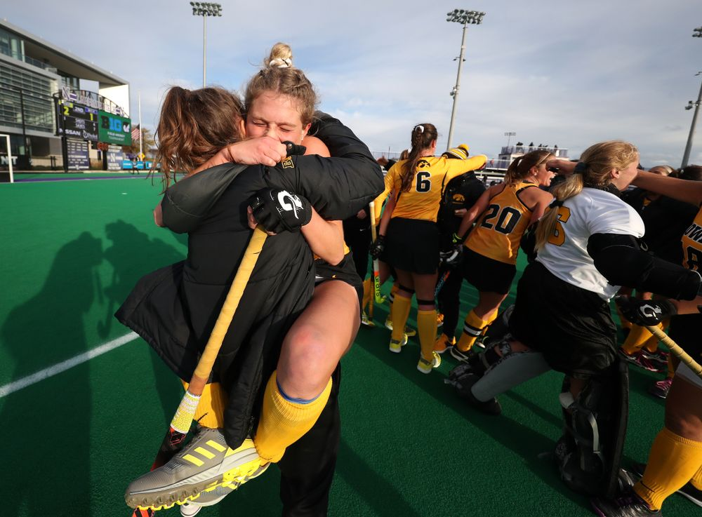 Iowa Hawkeyes Ellie Holley (7) celebrates their 2-1 victory over the Michigan Wolverines in the semi-finals of the Big Ten Tournament Friday, November 2, 2018 at Lakeside Field on the campus of Northwestern University in Evanston, Ill. (Brian Ray/hawkeyesports.com)