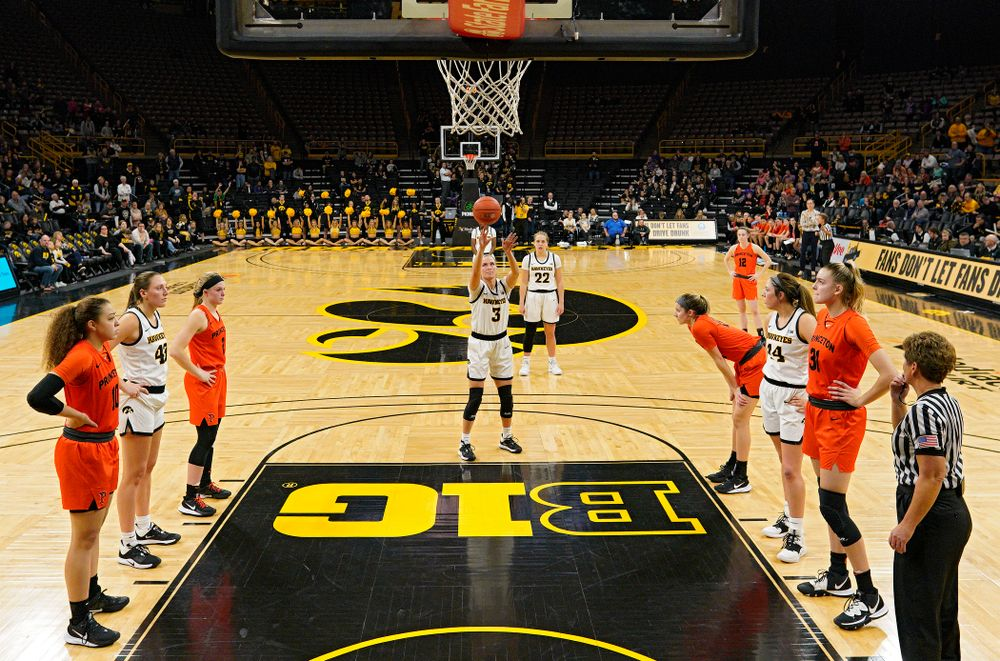 Iowa guard Makenzie Meyer (3) makes a free throw during the fourth quarter of their overtime win against Princeton at Carver-Hawkeye Arena in Iowa City on Wednesday, Nov 20, 2019. (Stephen Mally/hawkeyesports.com)