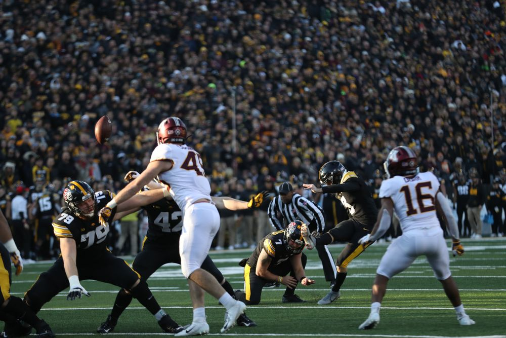 Iowa Hawkeyes place kicker Keith Duncan (3) against Minnesota Saturday, September 28, 2019 at Kinnick Stadium. (Max Allen/hawkeyesports.com)